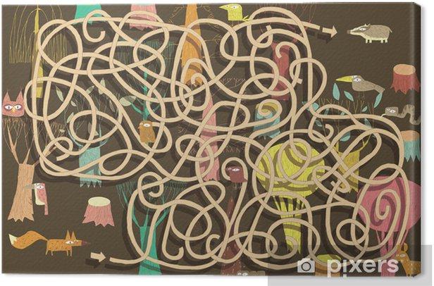 Leinwandbild Tiere Labyrinth-Spiel. Lösung in versteckten Schicht! - Sonstige Gefühle