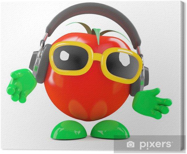 Leinwandbild Tomato hört auf seine Kopfhörer - Zeichen und Symbole