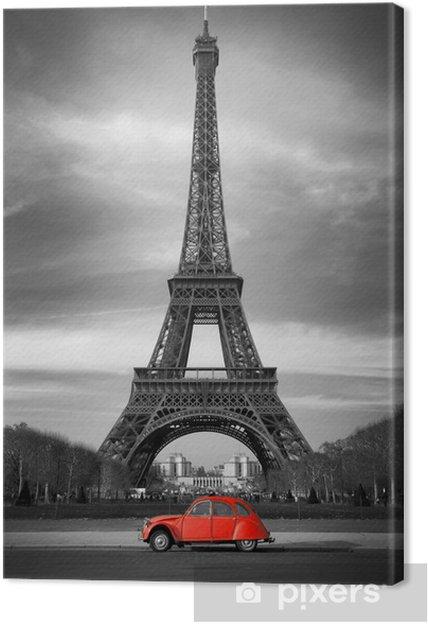 Leinwandbild Tour Eiffel et voiture rouge-Paris - Stile