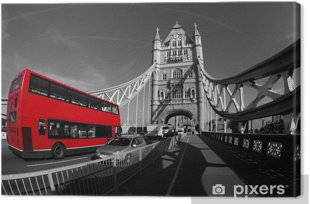 Leinwandbild Tower Bridge mit Doppeldecker in London, UK -