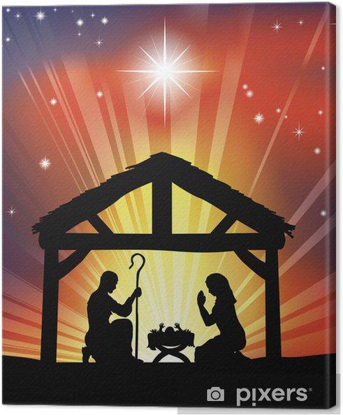Christliche Bilder Weihnachten.Leinwandbild Traditionelle Christliche Weihnachten Krippe