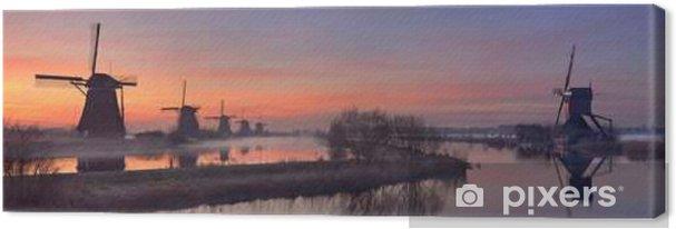 Leinwandbild Traditionelle Windmühlen bei Sonnenaufgang, Kinderdijk, Niederlande - Gebäude und Architektur
