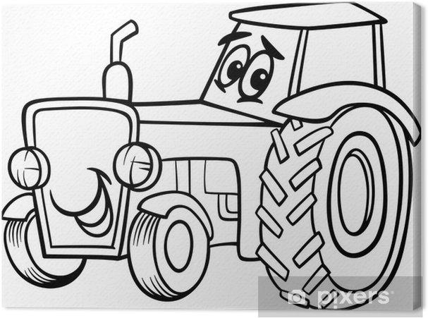 Leinwandbild Traktor Cartoon Für Malbuch Pixers Wir Leben Um