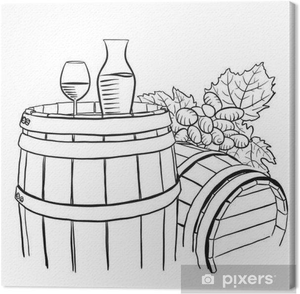 Leinwandbild Trauben, Karaffe und Glas Wein auf Holzfass - Grafische Elemente