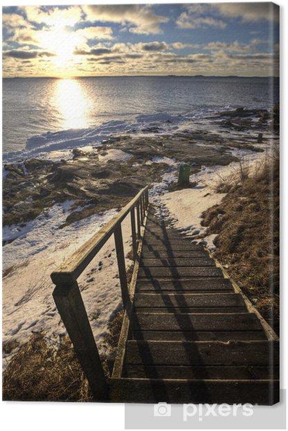Leinwandbild Treppen zum Strand in Winter - Themen