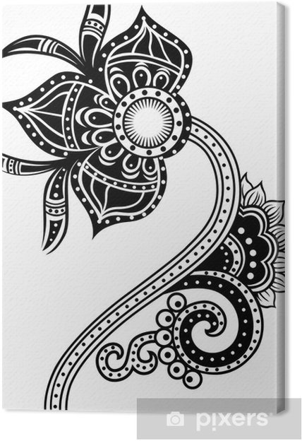 Leinwandbild Tribal paisley flower illustration - Stile