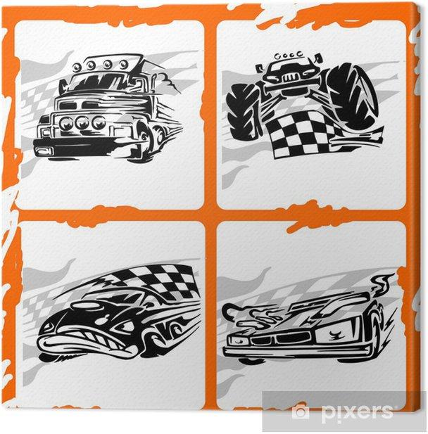 Leinwandbild Tribal Racing Car. - Straßenverkehr