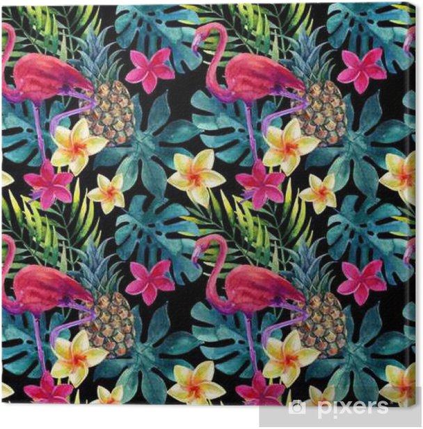Leinwandbild Tropical Aquarell Ananas, Blumen und Blätter mit Schatten - Pflanzen und Blumen