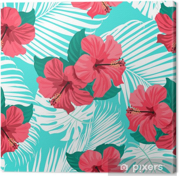 Leinwandbild Tropische Blumen und Palmblätter auf Hintergrund. nahtlos. Vektormuster. - Pflanzen und Blumen