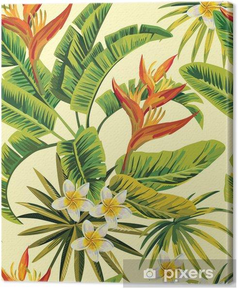 Leinwandbild Tropischen exotischen Blumen und Pflanzen Muster - Für Restaurant