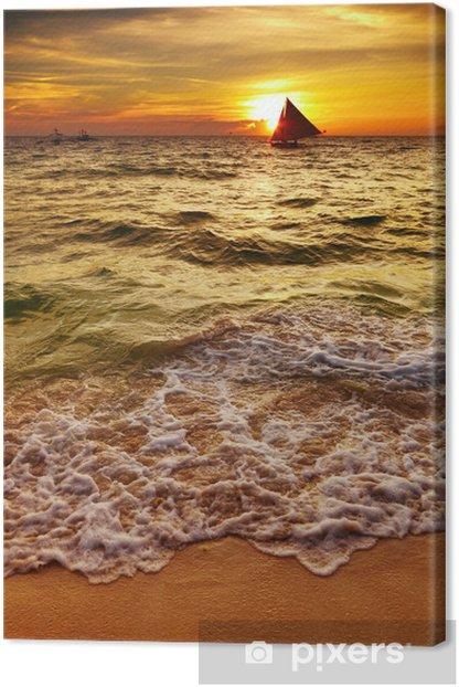 Leinwandbild Tropischen Sonnenuntergang - Urlaub