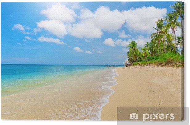 Leinwandbild Tropischen Strand mit Kokospalmen - Wasser
