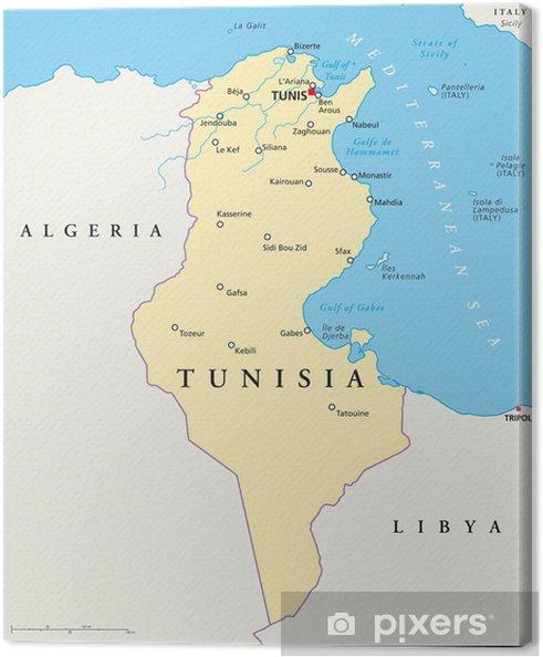 Tunesien Karte.Leinwandbild Tunesien Karte Tunesien Landkarte