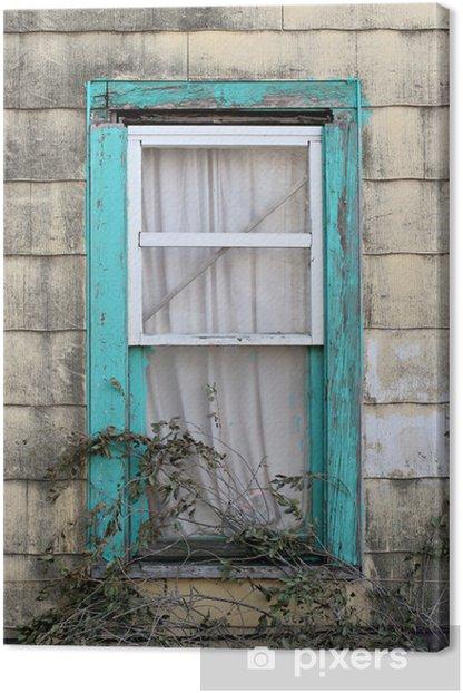 Leinwandbild Türkis-Fenster - Armut