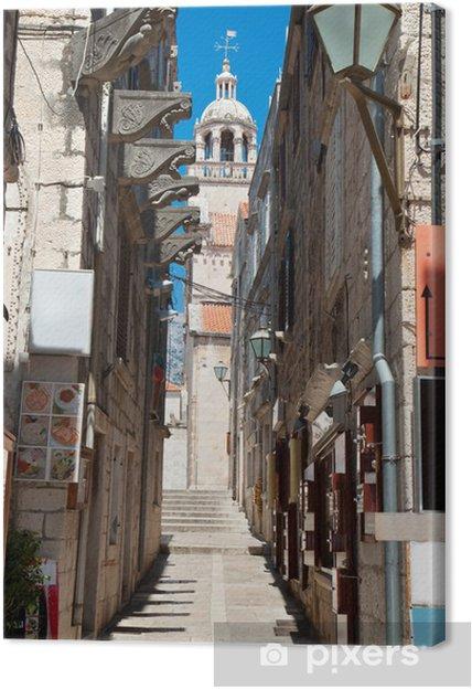 Leinwandbild Typische engen Straße im alten mittelalterlichen Stadt Korcula durch SUNY Tag - Europa