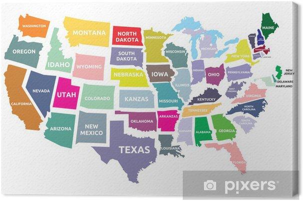 Bundesstaaten Usa Karte.Leinwandbild Usa Karte Mit Bundesstaaten