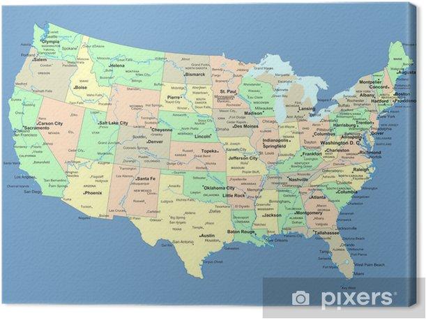 Leinwandbild Usa Karte Mit Namen Von Staaten Und Stadte Pixers Wir Leben Um Zu Verandern