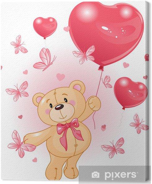Leinwandbild Valentinstag Teddy - Für Kindergartenkind