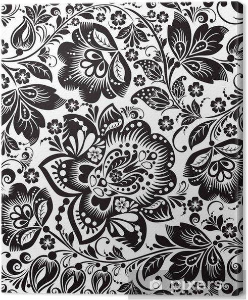 Leinwandbild Vector Floral Background Russische Traditionelle