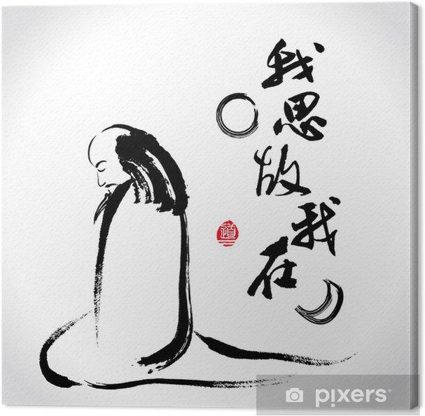 """Leinwandbild Vector zen Pinselstrich Denker: """"Ich denke, also bin ich"""" - Männer"""