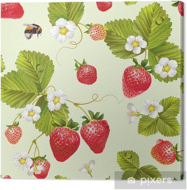 Leinwandbild Vektor Erdbeere nahtlose Muster. - Essen