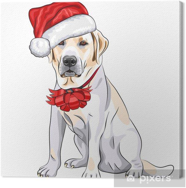 Leinwandbild Vektor Hund Labrador in den Hut von Santa Claus mit Weihnachtsbogen - Wandtattoo