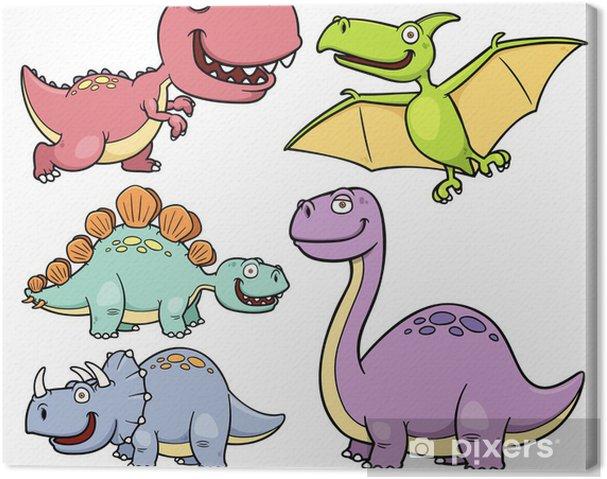 Leinwandbild Vektor Illustration Der Dinosaurier Comic Figuren