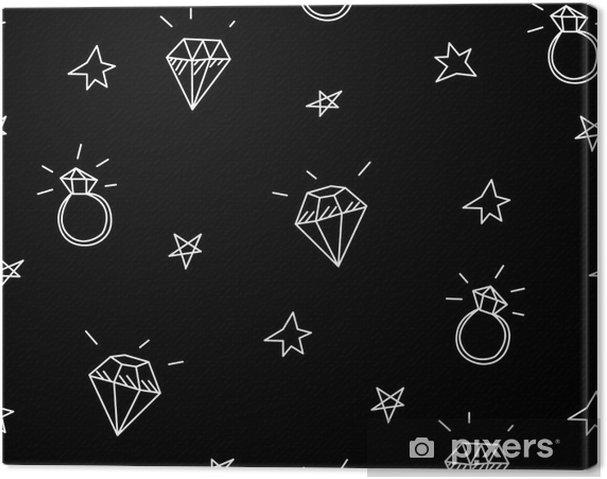Leinwandbild Vektor Nahtlose Muster Mit Hochzeitsringen Stars Und