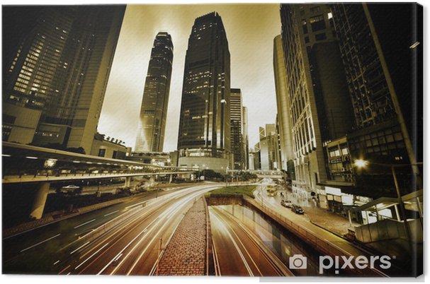 Leinwandbild Verkehr in Hong Kong bei Sonnenuntergang Zeit - Themen
