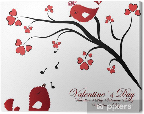Leinwandbild Verliebt Birdies auf einem Zweig mit Herzen - Fröhlichkeit