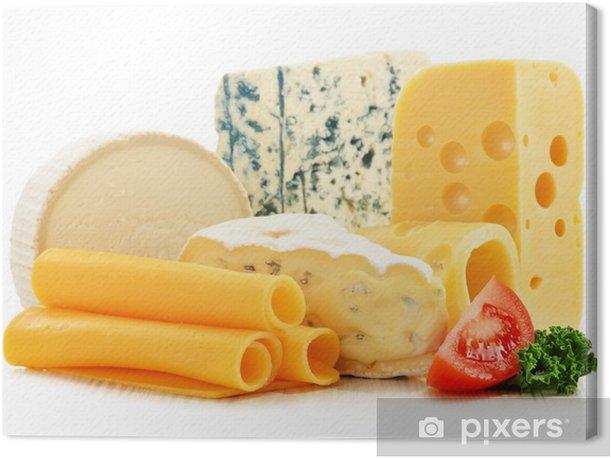 Leinwandbild Verschiedene Arten von Käse isoliert auf weißem Hintergrund - Käse