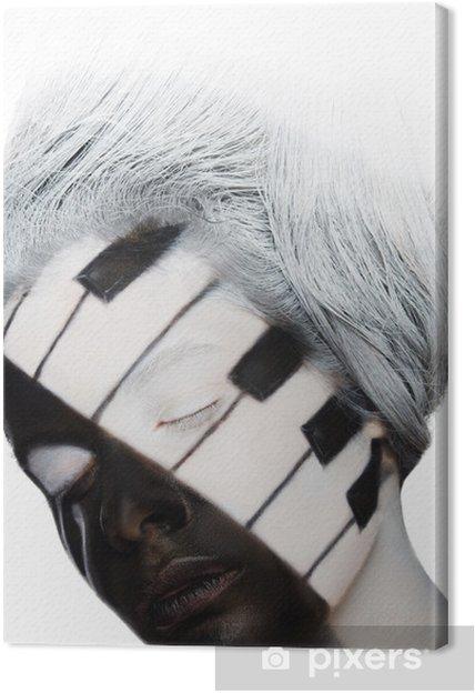 Leinwandbild Vertikal Porträt Gesicht Kunst in Form als Klavier - Themen