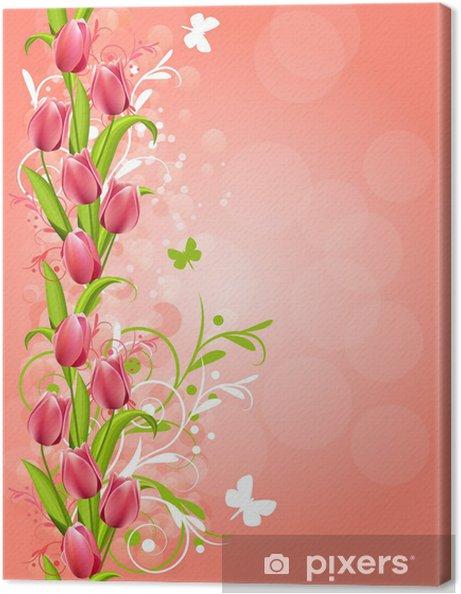 Leinwandbild Vertikale rosa Frühling Hintergrund mit Tulpen und Schnörkel - Hintergründe