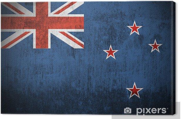 Leinwandbild Verwitterten Flagge von Neuseeland, Stoff texturierten .. -