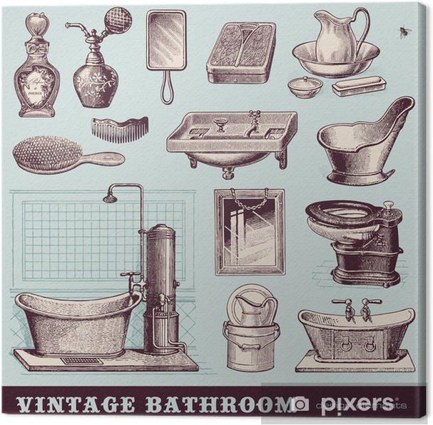 Leinwandbild Vintage Badezimmer - Möbel und Accessoires