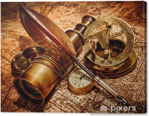 Leinwandbild Vintage-Elemente auf antike Karte. - Themen