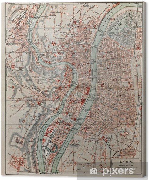 Lyon Karte.Leinwandbild Vintage Karte Von Lyon