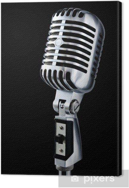 Leinwandbild Vintage Mikrofon auf schwarzem - Entertainment