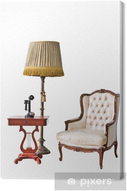Leinwandbild Vintage Sessel und Telefon mit Clipping-Pfad - Haus und Garten