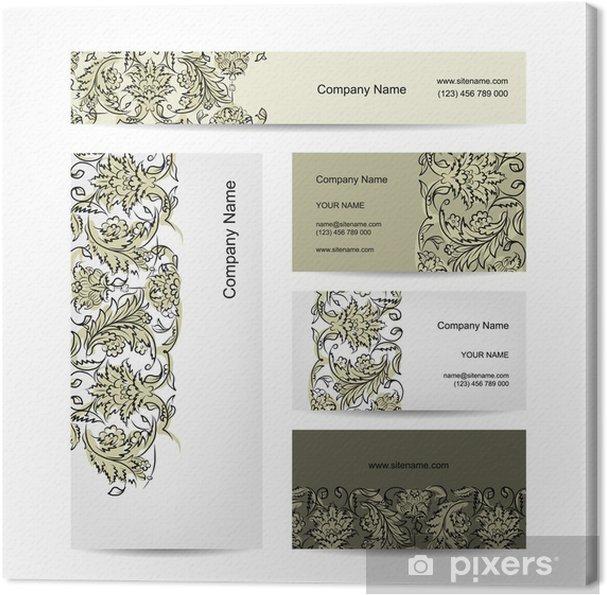 Leinwandbild Visitenkarten Design Blumenverzierung