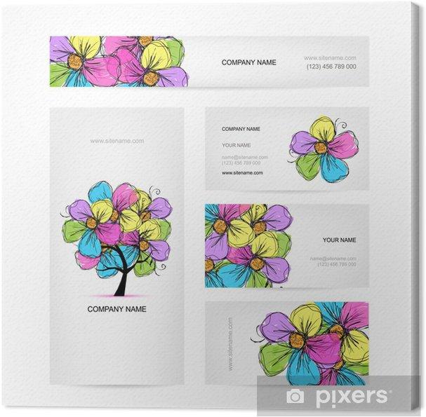 Leinwandbild Visitenkarten Design Mit Bunten Blumen Baum