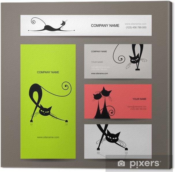 Leinwandbild Visitenkarten Mit Schwarzen Katzen Für Ihr Design