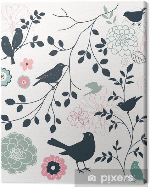 Leinwandbild Vogel und Blume - Themen
