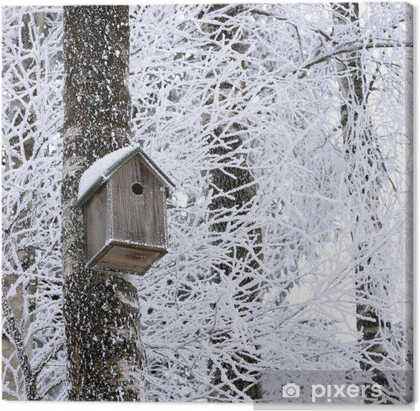 Leinwandbild Vogelhaus im Winter - Jahreszeiten