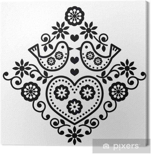 Leinwandbild Volkskunst Blumen schwarz Vektor-Muster mit Vögeln - Hintergründe