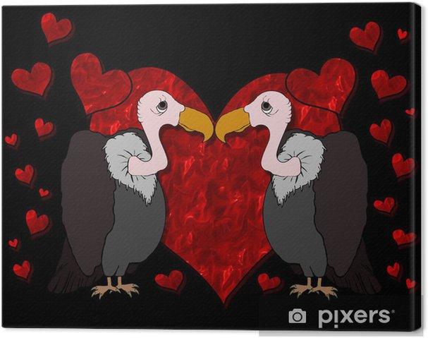 Leinwandbild Vultures in Love Cartoon - Internationale Feste