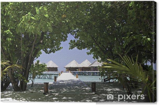 Leinwandbild Wasser-Bungalows auf einer tropischen Insel-Resort, Malediven - Urlaub