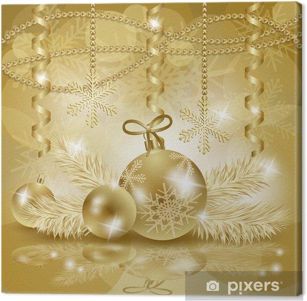 Hintergrund Weihnachten.Leinwandbild Weihnachten Hintergrund Mit Kugeln In Gold