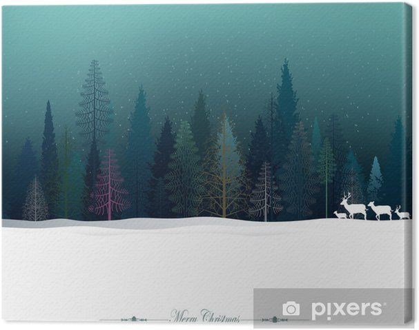 Leinwandbild Weihnachten Hintergrund mit Rehen und Kiefernwald - Feste