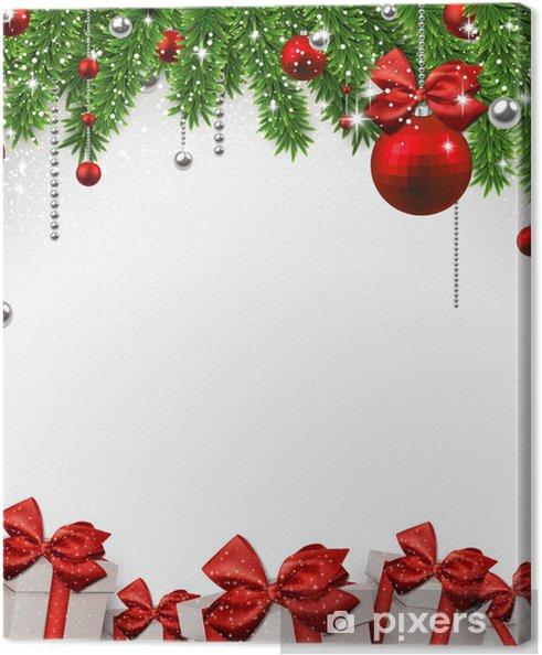 Hintergrund Weihnachten.Leinwandbild Weihnachten Hintergrund Mit Tannenzweigen Und Kugeln